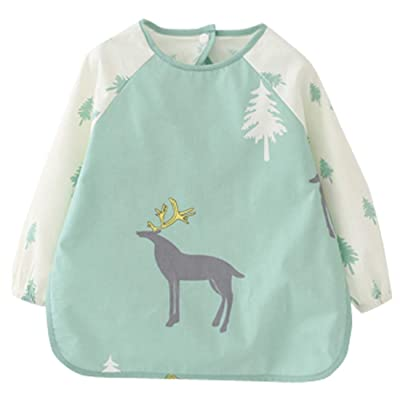 Happy Cherry Toddler Kids Sleeved Bibs Waterproof Smock Apron for Eating Painting: Clothing