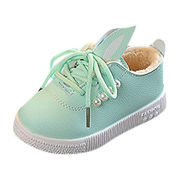 Zapatos Invierno Bebé, LANSKIRT Bebé Niñas Perlas Orejas Zapatilla de Deporte Caliente Suave Antideslizante Zapatos con Cordones: Amazon.es: Zapatos y ...