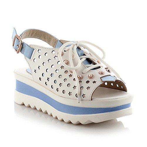 Amoonyfashion Womens Kitten Hakken Mix Materialen Assorti Kleur Gesp Open Teen Sandalen Blauw