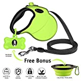 Ruff 'n Ruffus Retractable Dog Leash with FREE Waste Bag Dispenser and Bags + BONUS Bowl | Heavy-Duty 16ft Retracting Pet Leash | 1-Button Control | Durable Leash for Medium Large Dogs Up to 110lbs