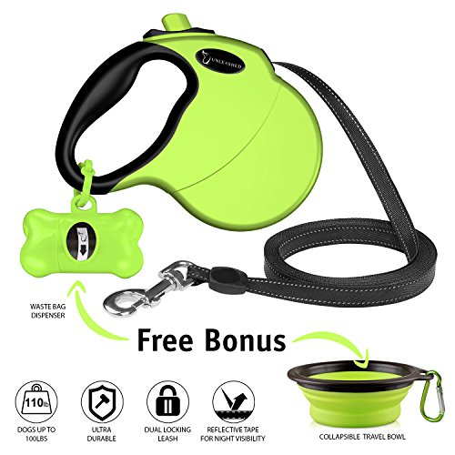 Ruff 'n Ruffus Retractable Dog Leash with Free Waste Bag Dispenser and Bags + Bonus Bowl | Heavy-Duty 16ft Retracting Pet Leash | 1-Button Control | Durable Leash for Medium Large Dogs Up to 110lbs ()