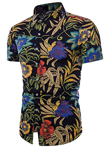 Shirt Hawaiian Street (Men's Floral Shirt Hi-Pop Street Fashion Hawaiian Casual Shirt Black 2XL)