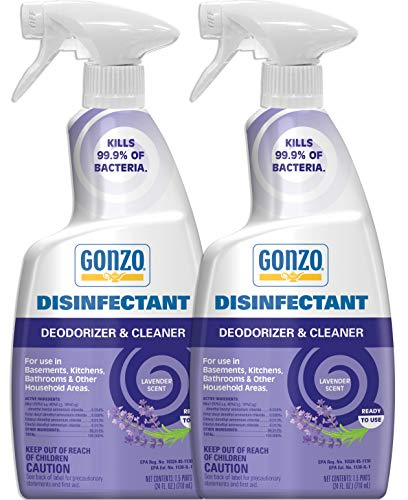 Gonzo Natural Magic Disinfectant Spray & Multipurpose Cleaner - 24 Ounce (2 Pack) Lavender - Odor Eliminator, Disinfectant, Flood Fire Water Damage Restoration