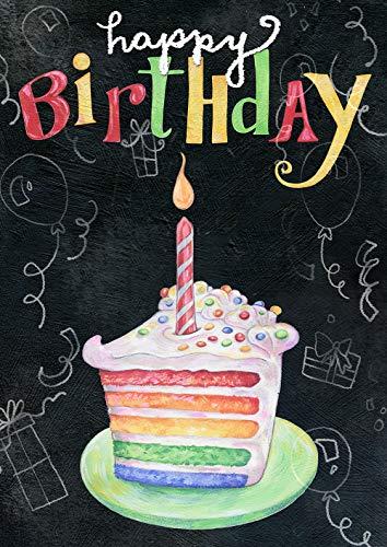 Happy Holidays Chalkboard (Toland Home Garden 1012277 Rainbow Cake Birthday 28 x 40 Inch Decorative, Happy Chalkboard Celebration, Double Sided House)