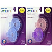 Philips Avent Soothie Pacifier, Pink/Purple and Blue, 0-3 Months, 4 count