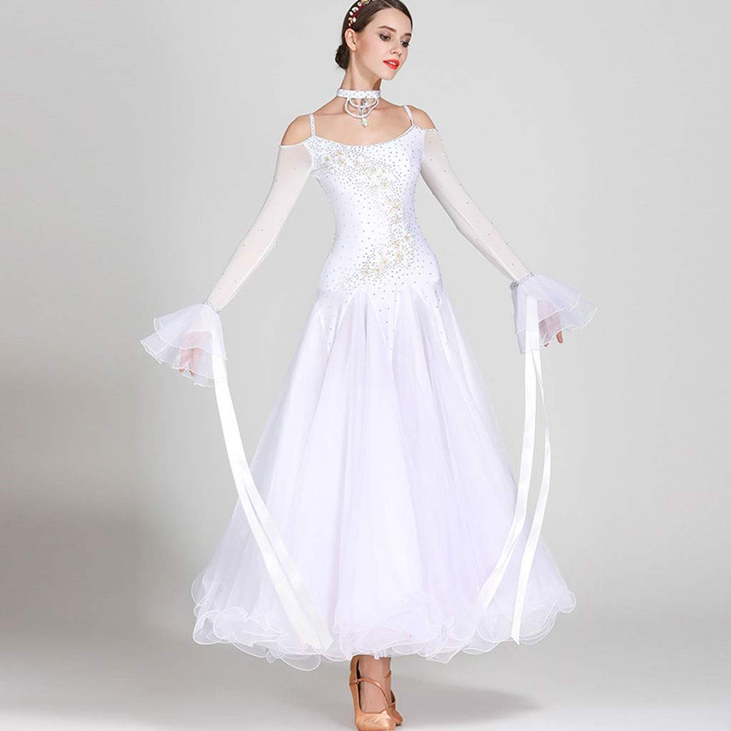 Frauen-Walzer-Modern Dance Competition Dress Long Sleeve , , , Nationales Standard-Ballsaal-Leistungsrhinestone-Kostüm B07NVDQ77R Bekleidung Schönes Design ab9397