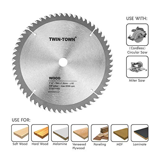 TWIN-TOWN 7-1/4-Inch Saw Blade, 60 Teeth,General Purpose for Soft Wood, Hard Wood, Chipboard & Plywood, 5/8-Inch DMK Arbor