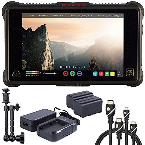 Atomos Ninja Inferno 7' 4K HDMI Recording Monitor, Battery, Charger, Caltar 7' Articulating Magic Arm, HDMI A-D Basic 3' Cable and A-C Basic 3' Cable