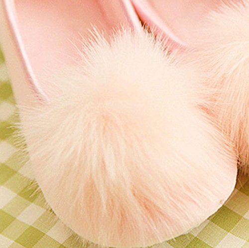 slip Slip Pom House Pink Womens on Cute Flats Casual Slippers Amiley Anti Pom Shoes q1XPg