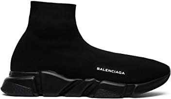 Balenciaga Mens & Womens Speed Trainer Mid Triple Black Unisex Fashion Sneakers (36