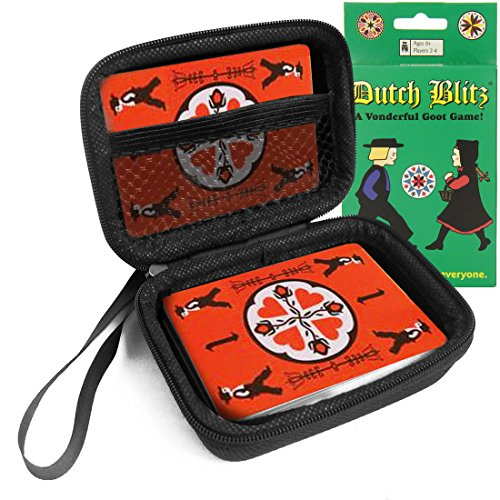FitSand (TM) Travel Carry Zipper EVA Hard Case for Dutch Blitz Card Game - Black Box, Blacker Box, Best Protection for Dutch Blitz Cards