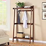 Solid Wood Coat Racks Simple Floor Hangers Shelf Creative Shoe Rack All Solid Wood To Build  Double Hook Design  Hollow Storage ( Color : Brown )