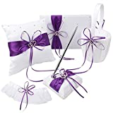 Purple Wedding Accesorries Wedding Guest Book +Pen Set +Flower Girl Basket + Ring Pillow ,+1 Garter Cover,Double Heart Rhinestone Elegant Wedding Ceremony Party Favor