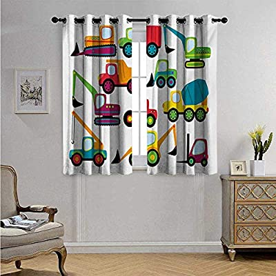 Cortina para puerta de cristal con diseño de construcción para vehículos de estilo lindo y equipo pesado para carretilla elevadora Earthmover, excavadora, cortina impermeable para ventana, 55 x 39 cm multicolor: Amazon.es: