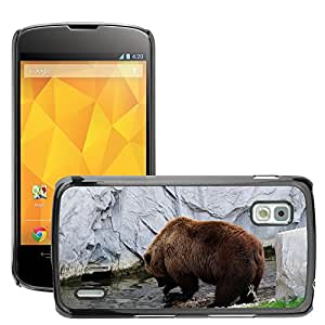Etui Housse Coque de Protection Cover Rigide pour // M00111028 Oso de Brown Kamchatka Oso Agua Roca // LG Nexus 4 E960