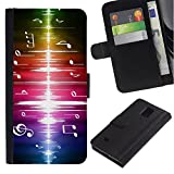 LASTONE PHONE CASE / Flip Leather Wallet Case with Credit Card Slots Money Slot for Samsung Galaxy Note 4 SM-N910 / Music Rainbow Instrument Sound
