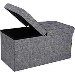 "SONGMICS 30"" L Fabric Ottoman Bench with Lift Top, Storage Chest Foot Rest Stool, Dark Grey ULSF40H"