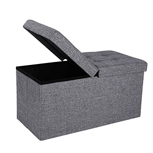 SONGMICS 30 Inches Fabric Storage Ottoman Bench