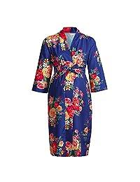 BOLUOYI Maternity Nursing Nightgown Breastfeeding Nightshirt Floral Sleepwear Dress