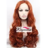 K'ryssma Body Wave Half Hand Tied Lace Front Wigs Heat Resistant Copper Red #350 Long Synthetic Hair Wig 18 Inches