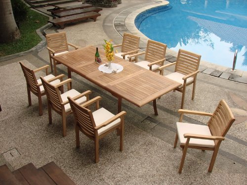 Grade-A Teak Wood Luxurious Dining Set Collections: 9 Pc - 94