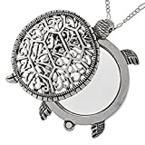 Sea Turtle Magnifier Magnifying Glass Sliding Top Magnet Pendant Necklace, 30""