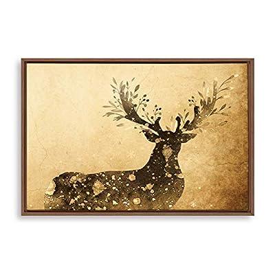 Retro Gold Branch Antlers Deer - Framed Canvas