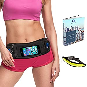 Running Belt – Touch Screen Compatible iPhone 7/7Plus 6/6 Plus & Samsung Galaxy & Android Smartphones – Free LED Armband & ebook Running Guide – The Only Phone Waistband of Its Kind
