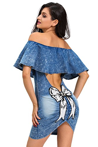 Señoras Sequin Bow Back Off hombro Denim vestido bodycon midi vestido club desgaste Tamaño L UK 12UE 40
