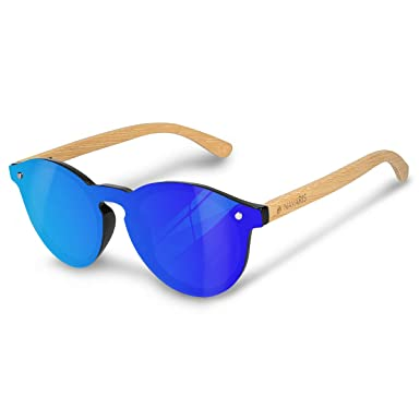 b3a6fb1f2380 Navaris One-Piece Bamboo Sunglasses - UV400 Polarised Classic Vintage Style  Rimless Frames Wood Shades for Men and Women  Amazon.co.uk  Clothing