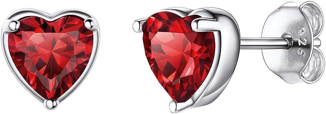 Valentine Day Gifts Women Red Garnet Charm Earrings 925 Sterling Silver Jewelry