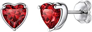 Plata de Ley 925 Pendientes Clavos Hipoalérgicos para Mujeres Joyería Moderna con Piedras de Nacimiento 12 Meses Regalo para Cumpleaños Corazón/Redondo