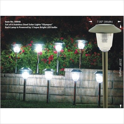Homebrite Solar 33868/8 Solar Power Olympus Path Lights, Set of 8