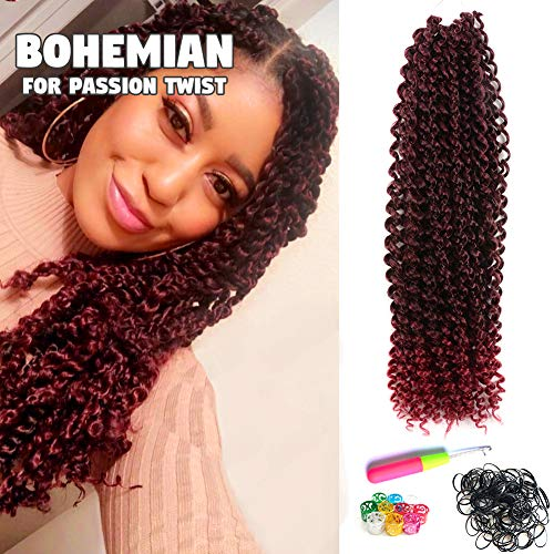 6Pcs Passion Twist Hair Ombre Red 18 Inch Long Bohemian Braids for Passion Twist Crochet Braiding Hair Hot Water Setting Itch Free Synthetic Fiber Natural Hair Extension (18, T118) (Best Red Ombre Hair)