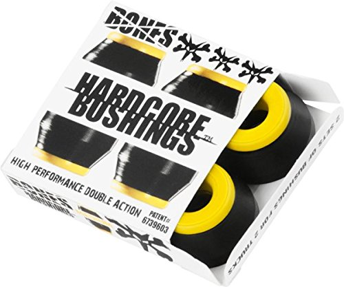 Bones Hardcore 4pc Medium Black Yellow Bushings Skateboard Bushings by Bones Wheels