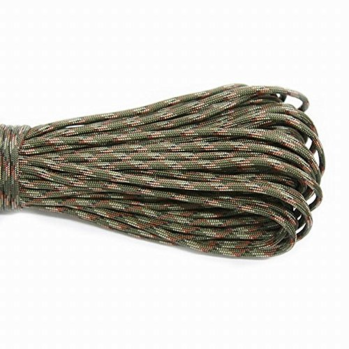 Climbing Rope Parachute Cord Rock Climbing Rope - 550 Parachute Cord Lanyard Rope Mil Spec Type III 7 Strand 100FT 31m Climbing Camping survival equipment - Rope Climbing (Army Green Camouflag)