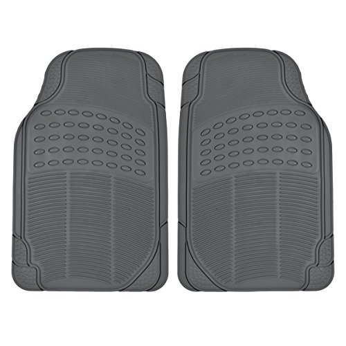 BDK All Weather Tough Rubber Floor Mats in Gray - 2pc Front Set ()