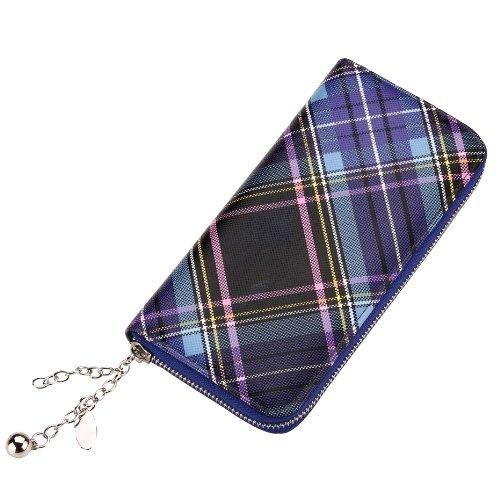 Funky Retro Diagnoal Scottish Tartan Stampa frizione borsa - Viola