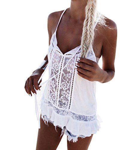 F_topbu Clearance Women Tank Crop Tops Teen Girls Solid Lace Patchwork Chiffon Sleeveless Blouse Cami Shirt Camisoles - Lace Racerback Cami