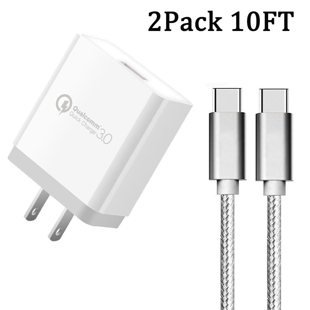 Charger Cable, Ankoe Quick 3.0 18W Fast Wall Charger Power Adapter with 2x 10FT USB Type-C Nylon Cable for amsung Galaxy S9 S8 Plus Note 8,Google Pixel XL,Moto Z Z2,LG V30 G6 & More (Silver)