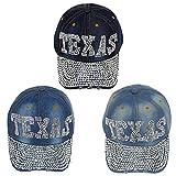 24 Pack Wholesale Texas Jean Jewel Rhinestone Bling Studs Baseball Cap Adjustable - Bulk Case of 24 Hats