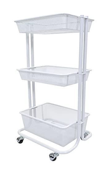Luxor 3 Shelf Multipurpose Rolling Kitchen Utility Cart Steel   White