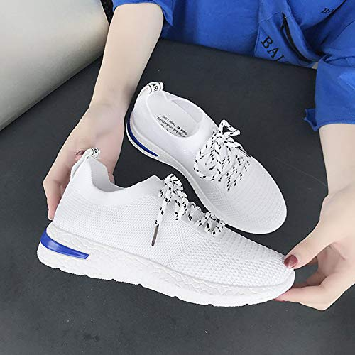Mujer Summer Zapatos Comfort Blanco ZHZNVX Sneakers de Red Round Rojo Flat Negro Heel Toe Mesh qwxfCCEIp