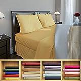 Clara Clark 1800 series Silky Soft 4 piece Bed Sheet Set Cal-King Size, Camel