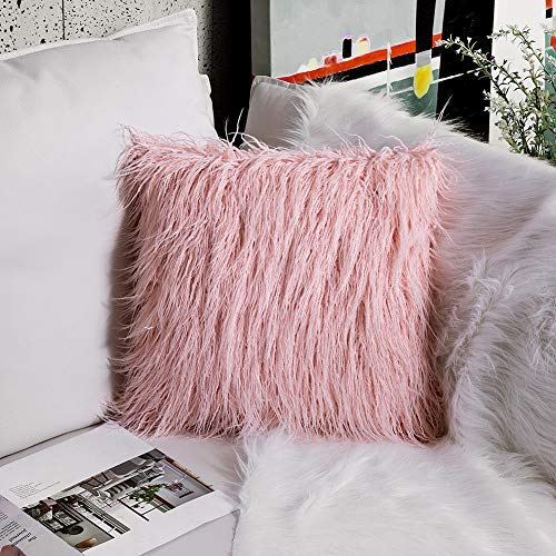 OJIA Deluxe Home Decorative Super Soft Plush Mongolian Faux Fur Throw Pillow Cover Cushion Case (24 x 24 Inch,Blush Pink) (Best Peachy Pink Blush)