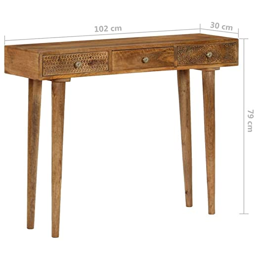 Table Console de Table Massif Table Manguier d'Entrée Bois vidaXL d'Appoint 6g7vYfby
