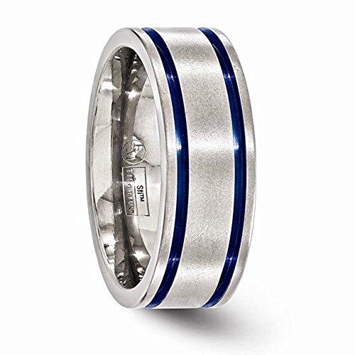 Edward Mirell Titanium Grooved Blue Anodized 8mm Wedding Band - Size 9.5