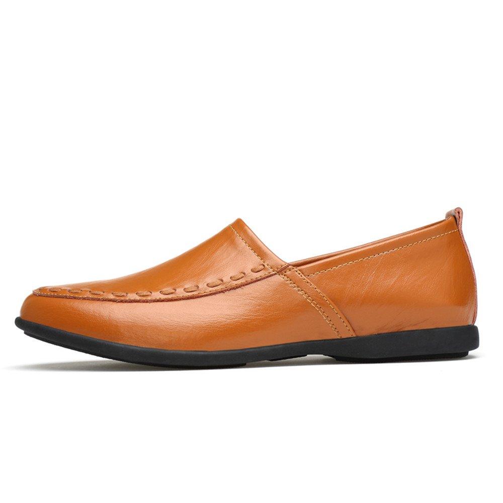 Mocasines de Cuero Genuino de los Hombres Slip on Suede Plantilla Loafer 47 EU|Light Brown