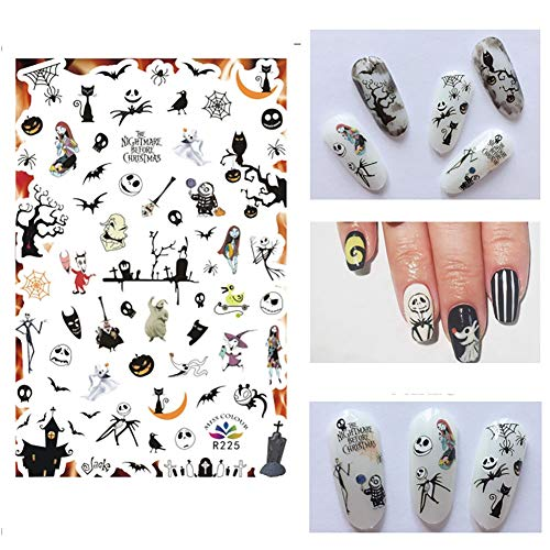 IDOXE Halloween Nail Art,Halloween Nail Stickers and Decals for Women Girls Kids,Holiday Nail Art Supplies,3D Adhesive Nail Art Fun and Scary (Halloween 4) -