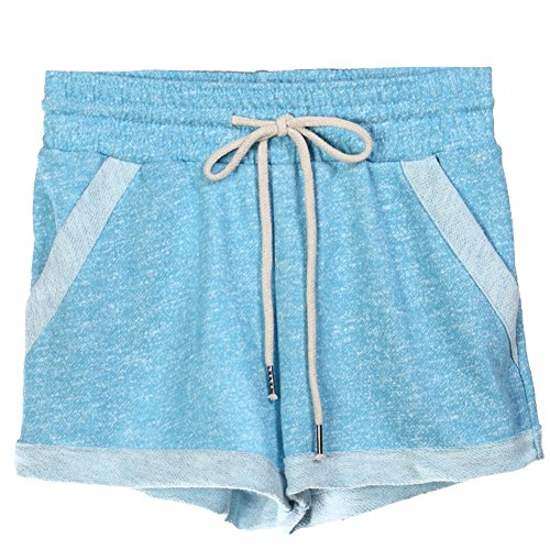 Pantaloncini Elastica Yoga Blu Pink Casuale Corti Curling Hot Pants Coulisse Sport Vita Donna Pantaloni Fitness wtTqYpp
